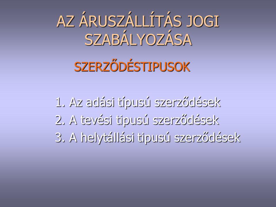AZ ÁRUSZÁLLÍTÁS JOGI SZABÁLYOZÁSA