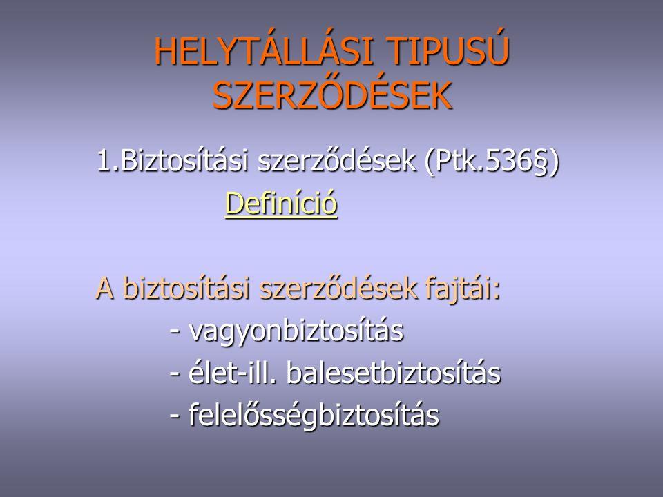 HELYTÁLLÁSI TIPUSÚ SZERZŐDÉSEK