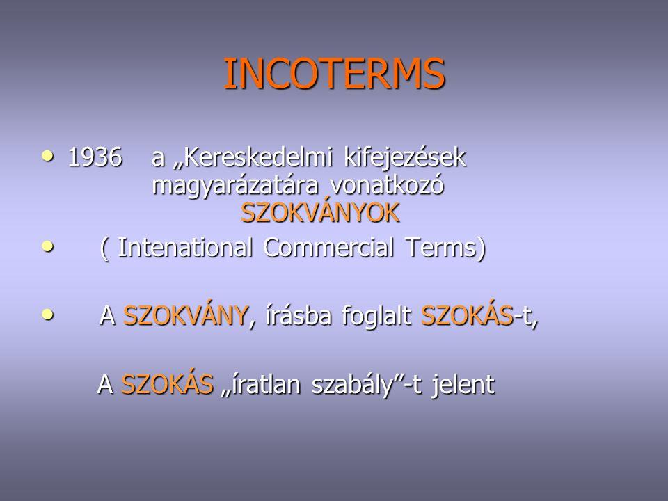 """INCOTERMS 1936 a """"Kereskedelmi kifejezések magyarázatára vonatkozó SZOKVÁNYOK. ( Intenational Commercial Terms)"""