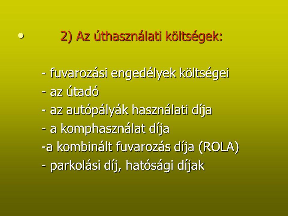2) Az úthasználati költségek: