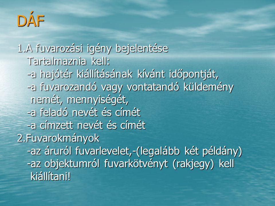 DÁF 1.A fuvarozási igény bejelentése Tartalmaznia kell: