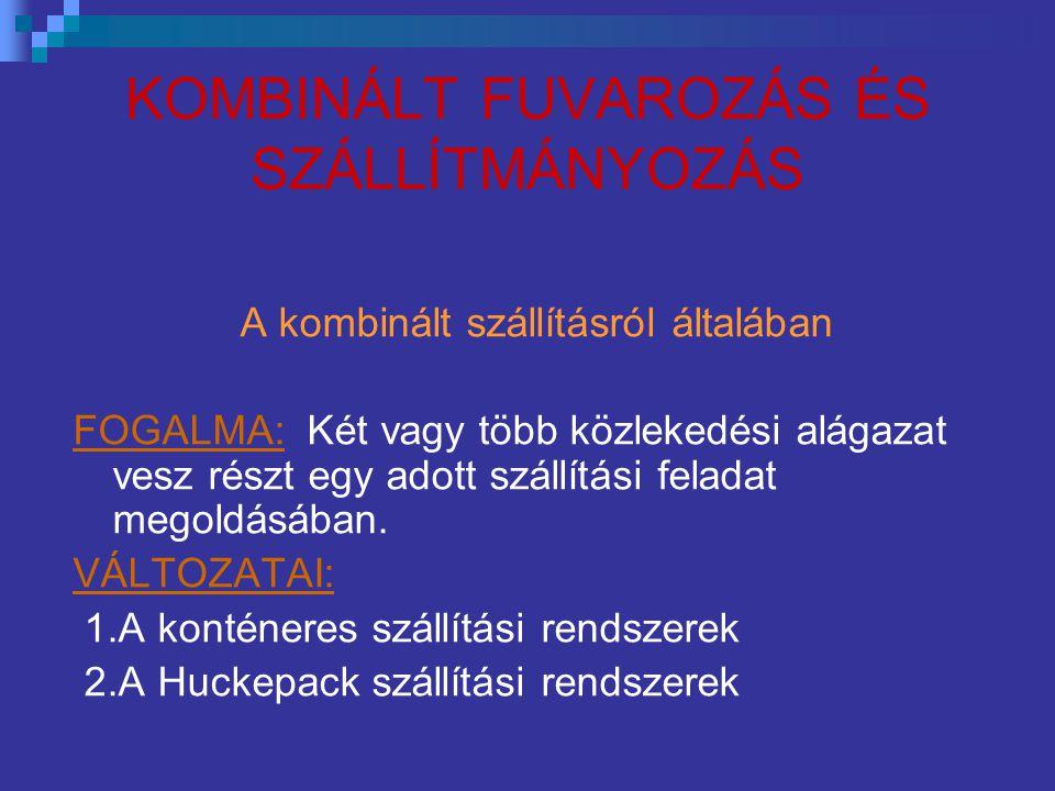 KOMBINÁLT FUVAROZÁS ÉS SZÁLLÍTMÁNYOZÁS