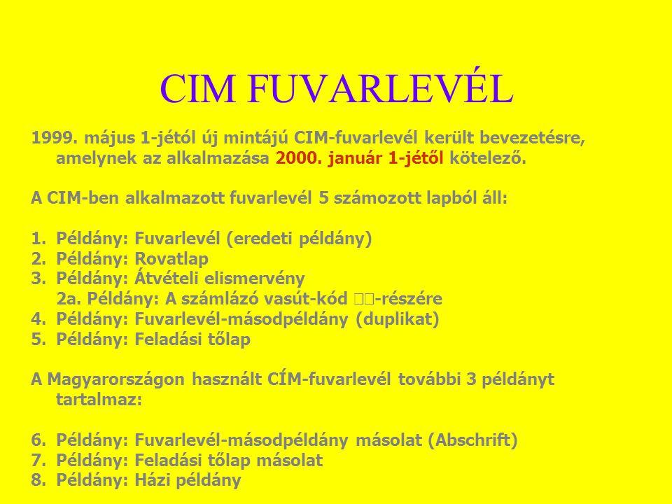 CIM FUVARLEVÉL 1999. május 1-jétól új mintájú CIM-fuvarlevél került bevezetésre, amelynek az alkalmazása 2000. január 1-jétől kötelező.