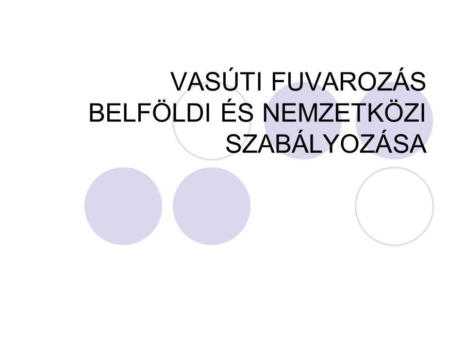 VASÚTI FUVAROZÁS BELFÖLDI ÉS NEMZETKÖZI SZABÁLYOZÁSA