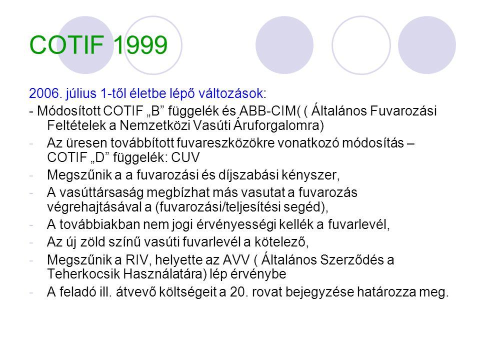 COTIF 1999 2006. július 1-től életbe lépő változások: