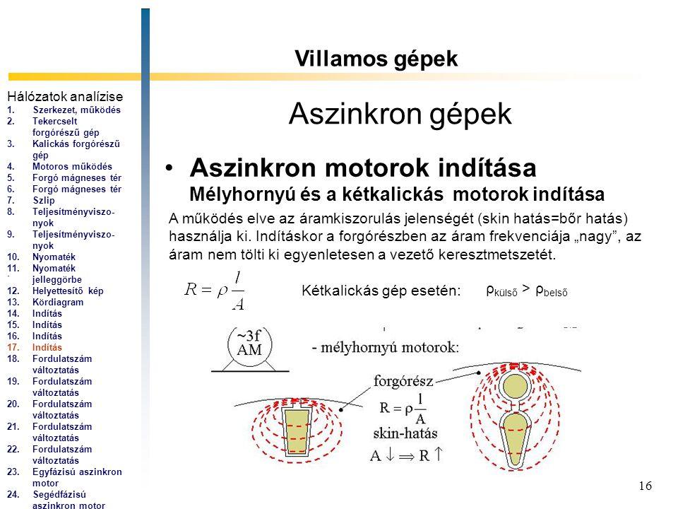 Aszinkron gépek Aszinkron motorok indítása Villamos gépek