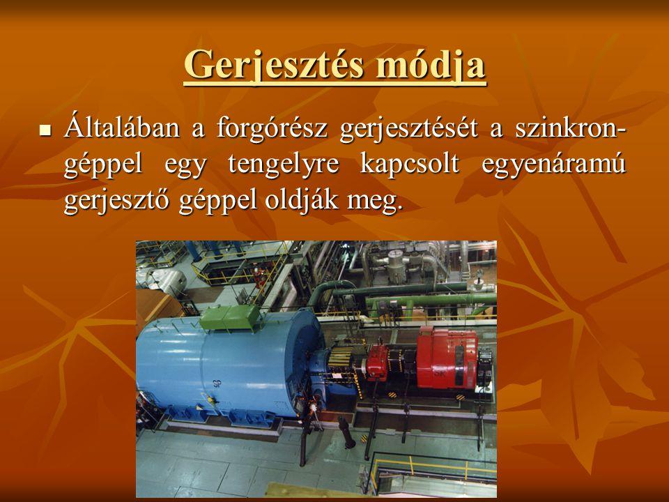 Gerjesztés módja Általában a forgórész gerjesztését a szinkron-géppel egy tengelyre kapcsolt egyenáramú gerjesztő géppel oldják meg.