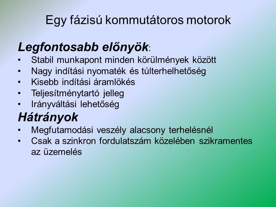 Egy fázisú kommutátoros motorok