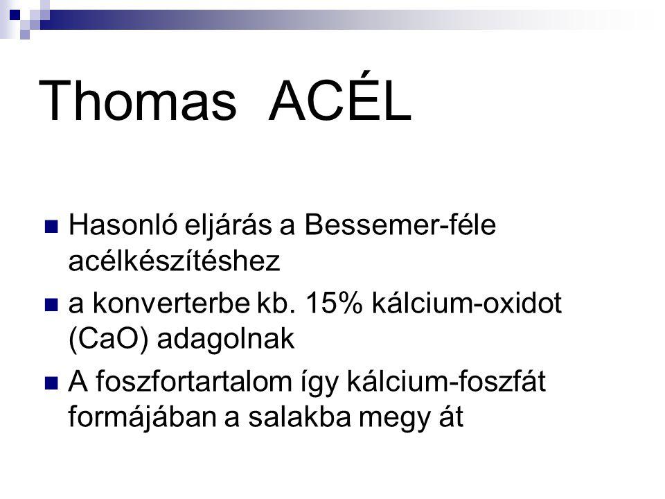 Thomas ACÉL Hasonló eljárás a Bessemer-féle acélkészítéshez