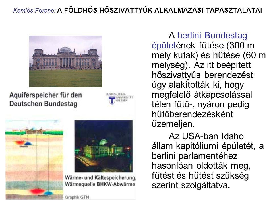 Komlós Ferenc: A FÖLDHŐS HŐSZIVATTYÚK ALKALMAZÁSI TAPASZTALATAI