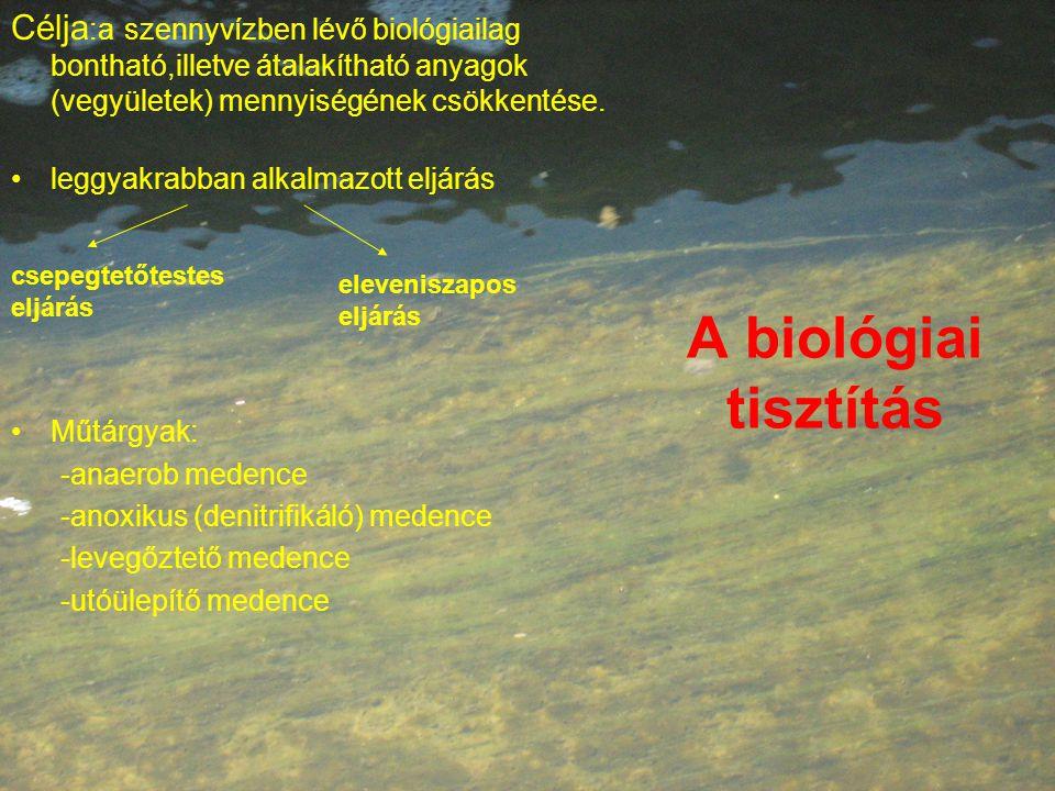 Célja:a szennyvízben lévő biológiailag bontható,illetve átalakítható anyagok (vegyületek) mennyiségének csökkentése.