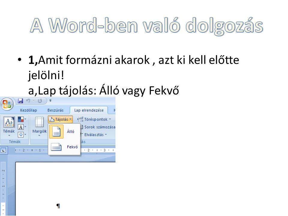 A Word-ben való dolgozás