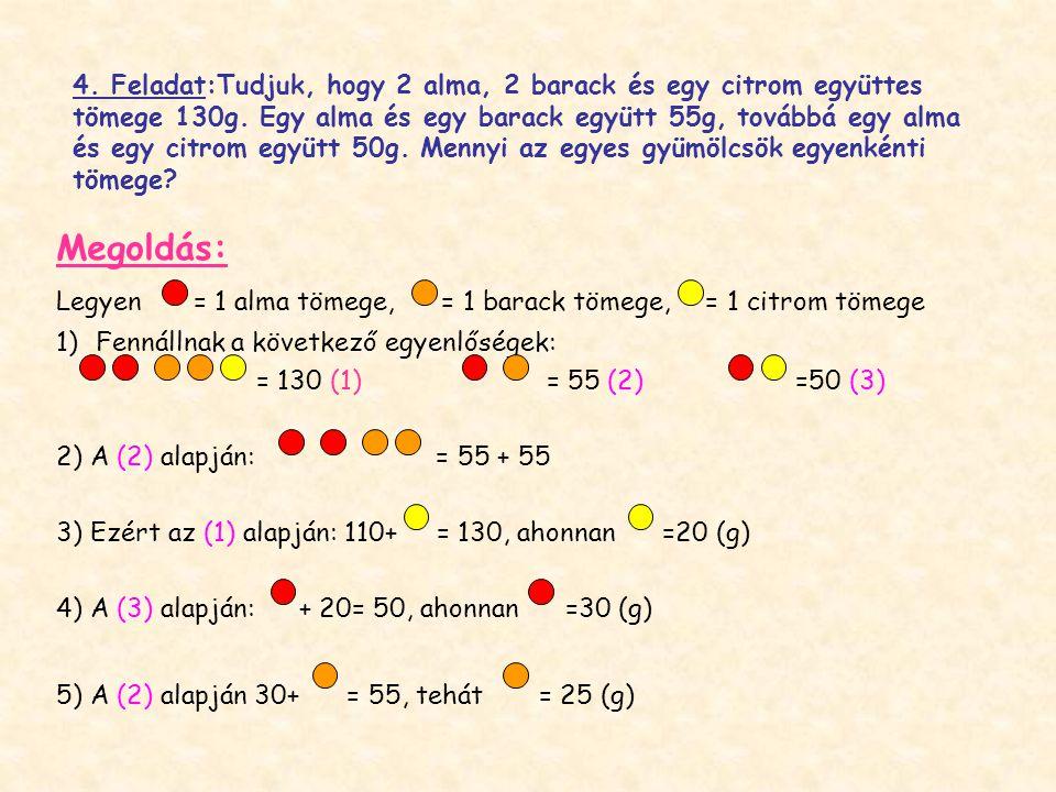 4. Feladat:Tudjuk, hogy 2 alma, 2 barack és egy citrom együttes tömege 130g. Egy alma és egy barack együtt 55g, továbbá egy alma és egy citrom együtt 50g. Mennyi az egyes gyümölcsök egyenkénti tömege