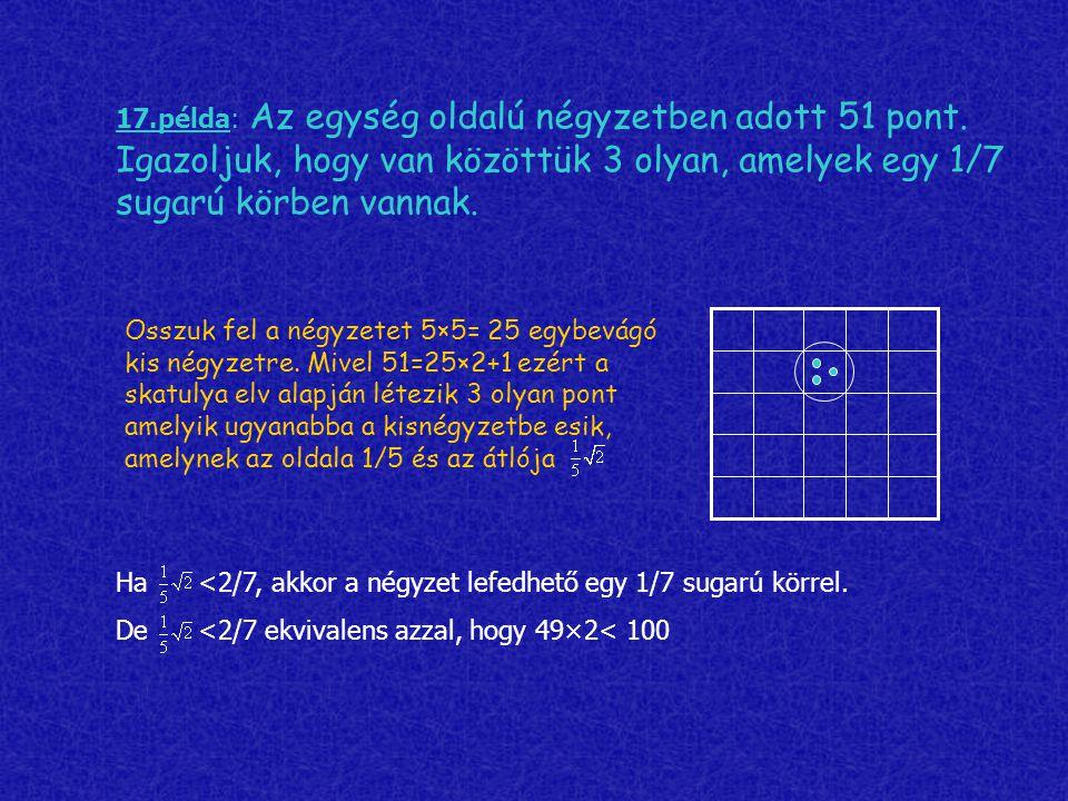 17. példa: Az egység oldalú négyzetben adott 51 pont