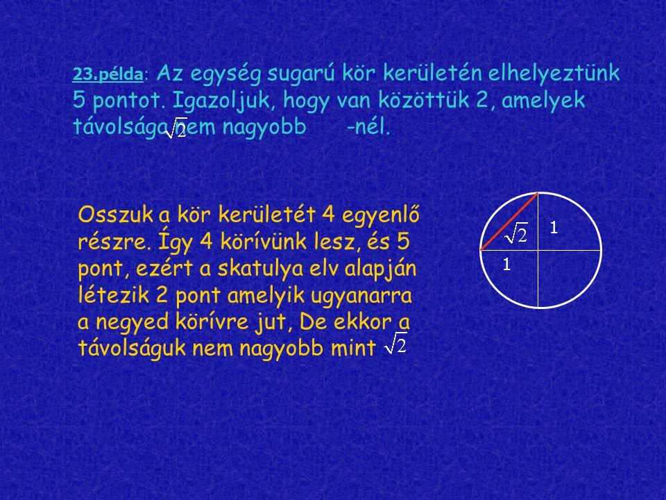 23. példa: Az egység sugarú kör kerületén elhelyeztünk 5 pontot