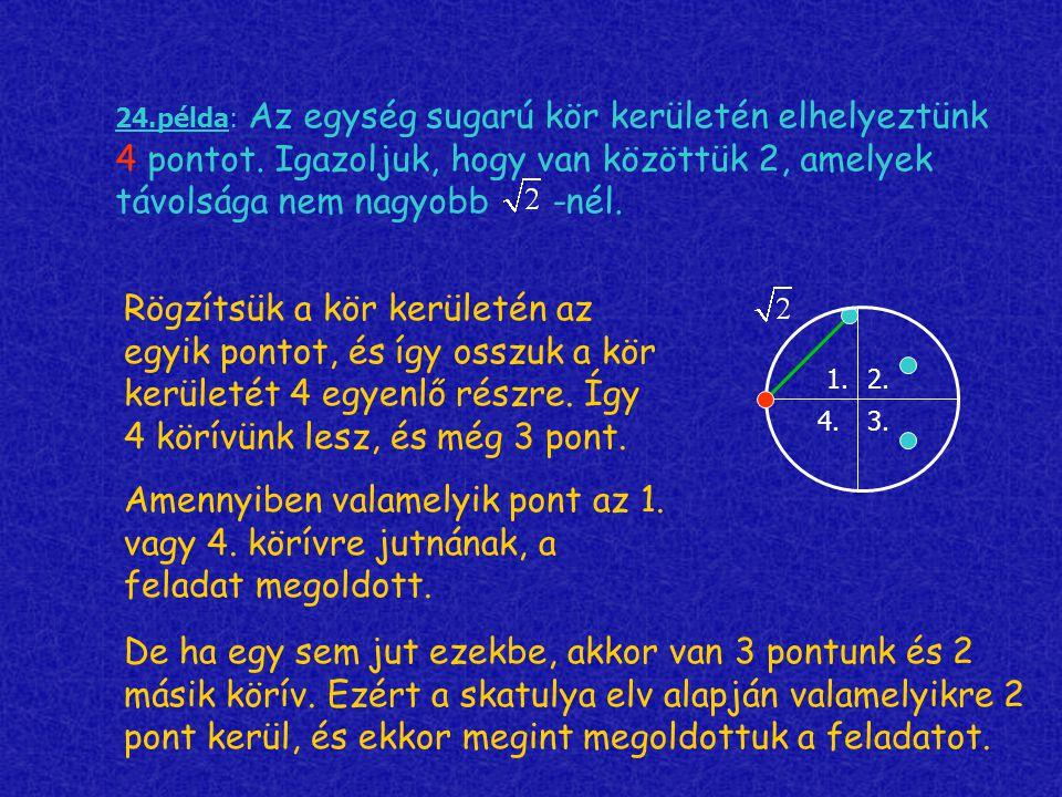 24. példa: Az egység sugarú kör kerületén elhelyeztünk 4 pontot