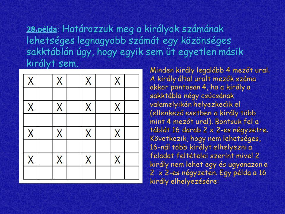 28.példa: Határozzuk meg a királyok számának lehetséges legnagyobb számát egy közönséges sakktáblán úgy, hogy egyik sem üt egyetlen másik királyt sem.