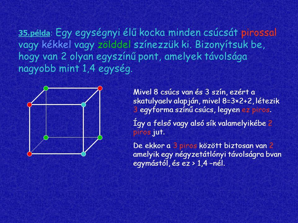 35.példa: Egy egységnyi élű kocka minden csúcsát pirossal vagy kékkel vagy zölddel színezzük ki. Bizonyítsuk be, hogy van 2 olyan egyszínű pont, amelyek távolsága nagyobb mint 1,4 egység.