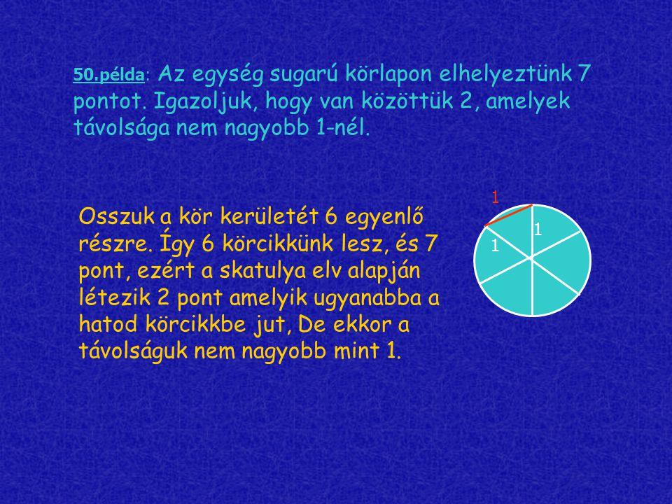 50. példa: Az egység sugarú körlapon elhelyeztünk 7 pontot