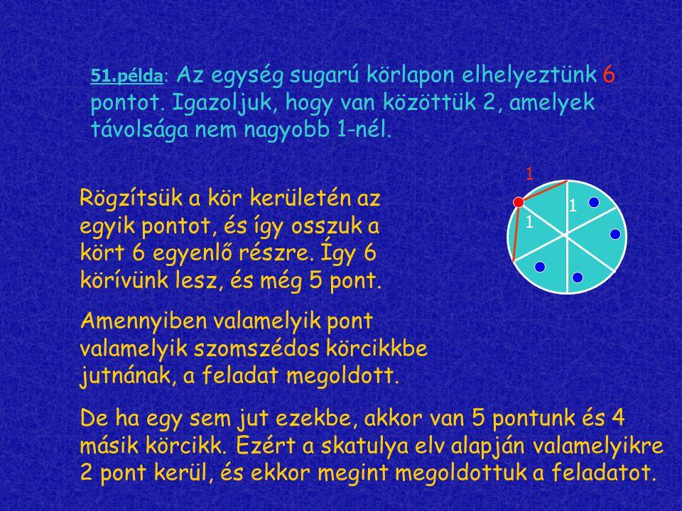 51. példa: Az egység sugarú körlapon elhelyeztünk 6 pontot