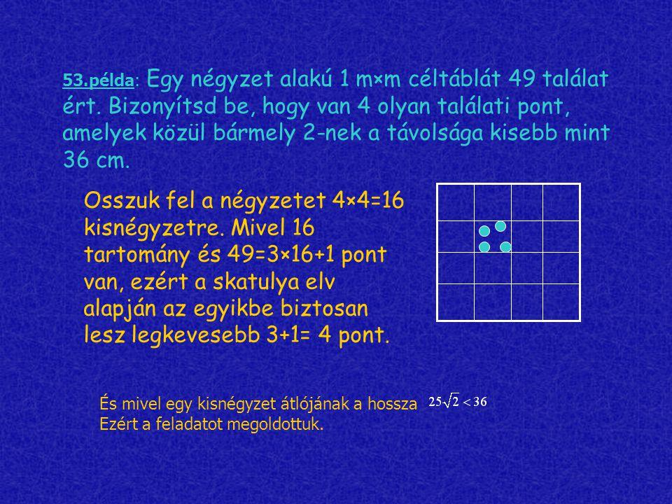 53. példa: Egy négyzet alakú 1 m×m céltáblát 49 találat ért
