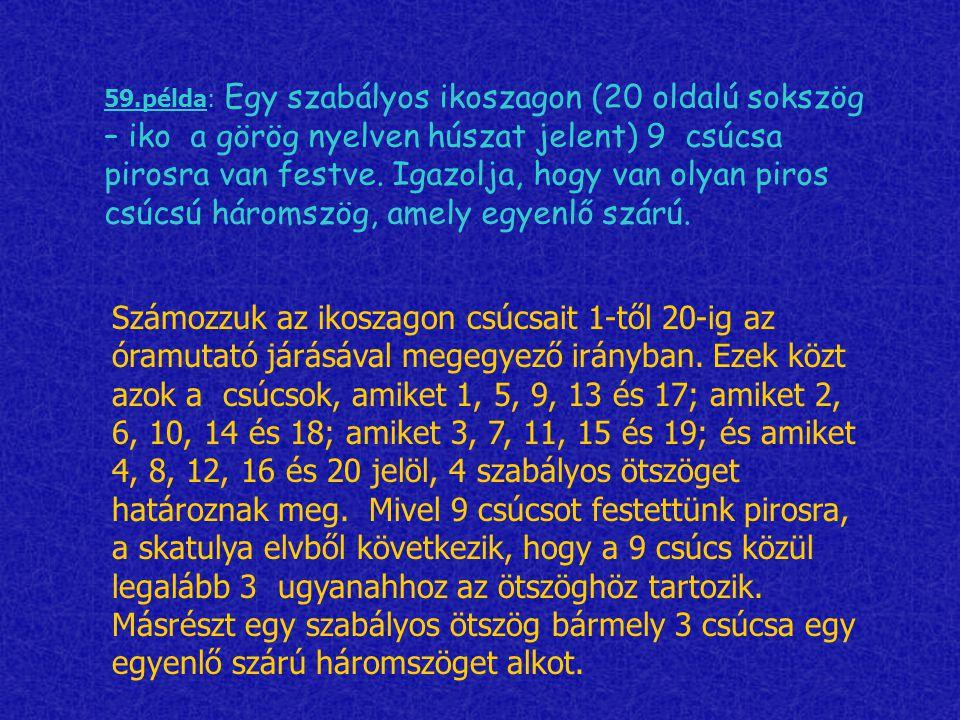 59.példa: Egy szabályos ikoszagon (20 oldalú sokszög – iko a görög nyelven húszat jelent) 9 csúcsa pirosra van festve. Igazolja, hogy van olyan piros csúcsú háromszög, amely egyenlő szárú.