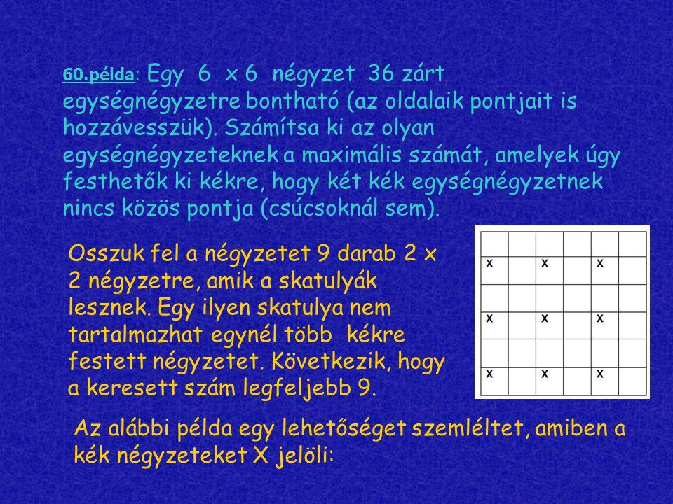 60.példa: Egy 6 х 6 négyzet 36 zárt egységnégyzetre bontható (az oldalaik pontjait is hozzávesszük). Számítsa ki az olyan egységnégyzeteknek a maximális számát, amelyek úgy festhetők ki kékre, hogy két kék egységnégyzetnek nincs közös pontja (csúcsoknál sem).
