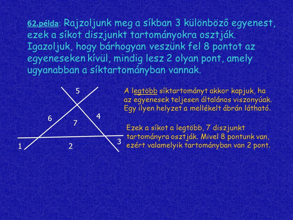 62.példa: Rajzoljunk meg a síkban 3 különböző egyenest, ezek a síkot diszjunkt tartományokra osztják. Igazoljuk, hogy bárhogyan veszünk fel 8 pontot az egyeneseken kívül, mindig lesz 2 olyan pont, amely ugyanabban a síktartományban vannak.