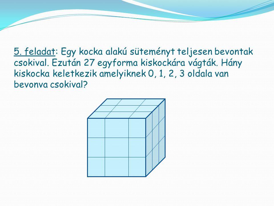 5. feladat: Egy kocka alakú süteményt teljesen bevontak csokival