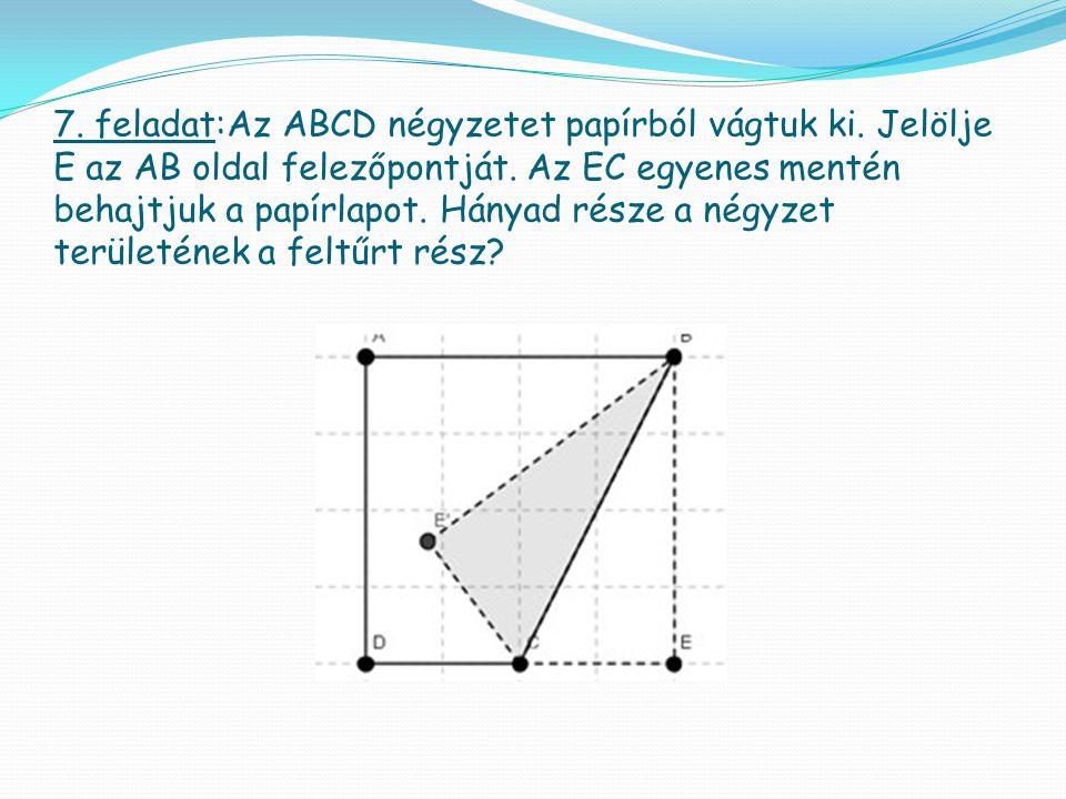 7. feladat:Az ABCD négyzetet papírból vágtuk ki