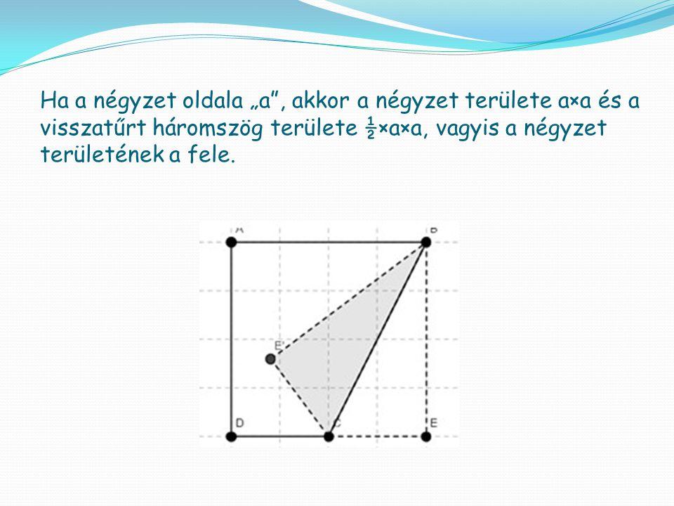 """Ha a négyzet oldala """"a , akkor a négyzet területe a×a és a visszatűrt háromszög területe ½×a×a, vagyis a négyzet területének a fele."""
