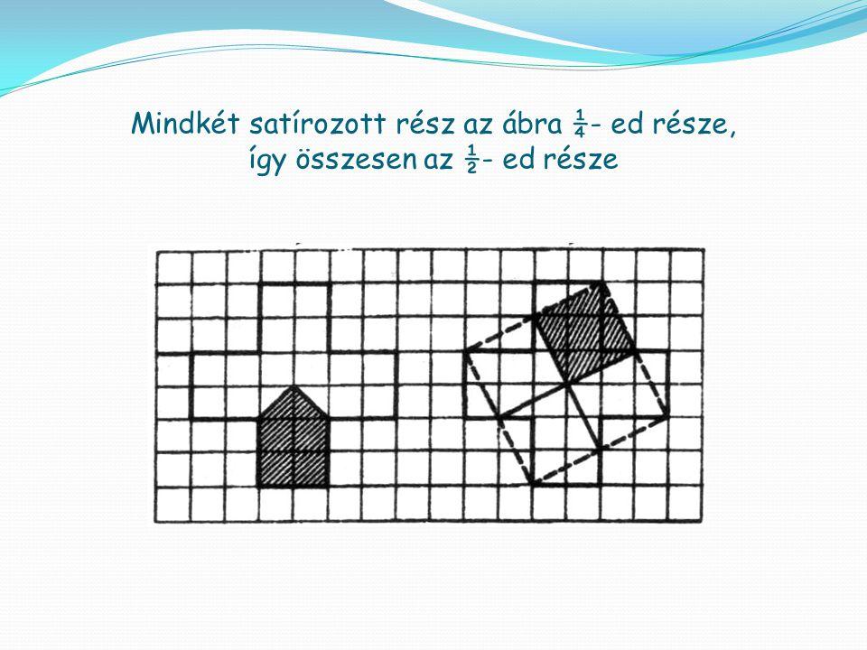 Mindkét satírozott rész az ábra ¼- ed része, így összesen az ½- ed része