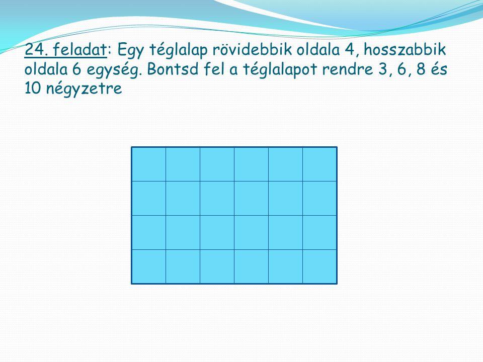 24. feladat: Egy téglalap rövidebbik oldala 4, hosszabbik oldala 6 egység.