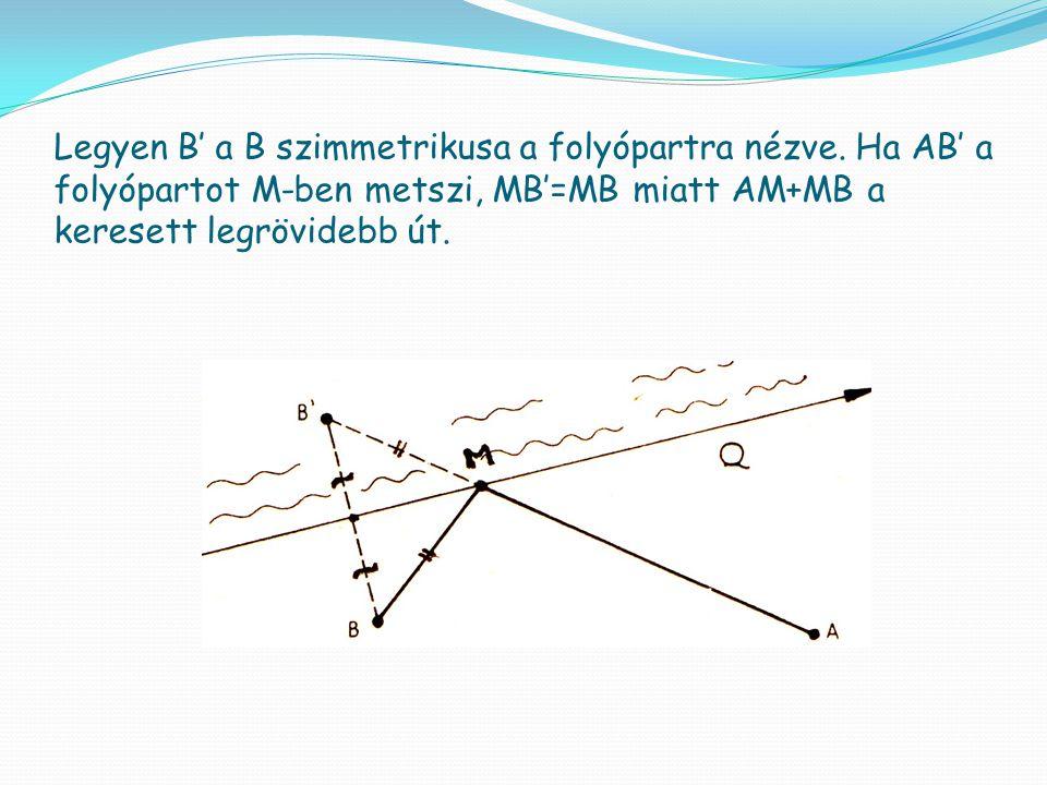 Legyen B' a B szimmetrikusa a folyópartra nézve
