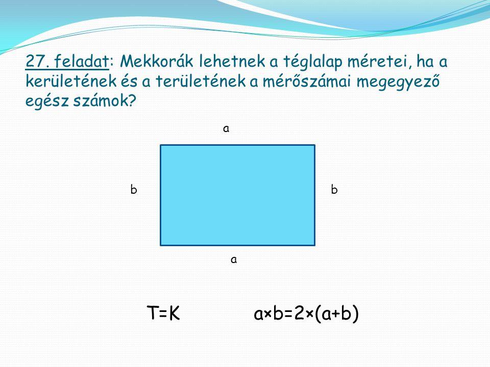 27. feladat: Mekkorák lehetnek a téglalap méretei, ha a kerületének és a területének a mérőszámai megegyező egész számok