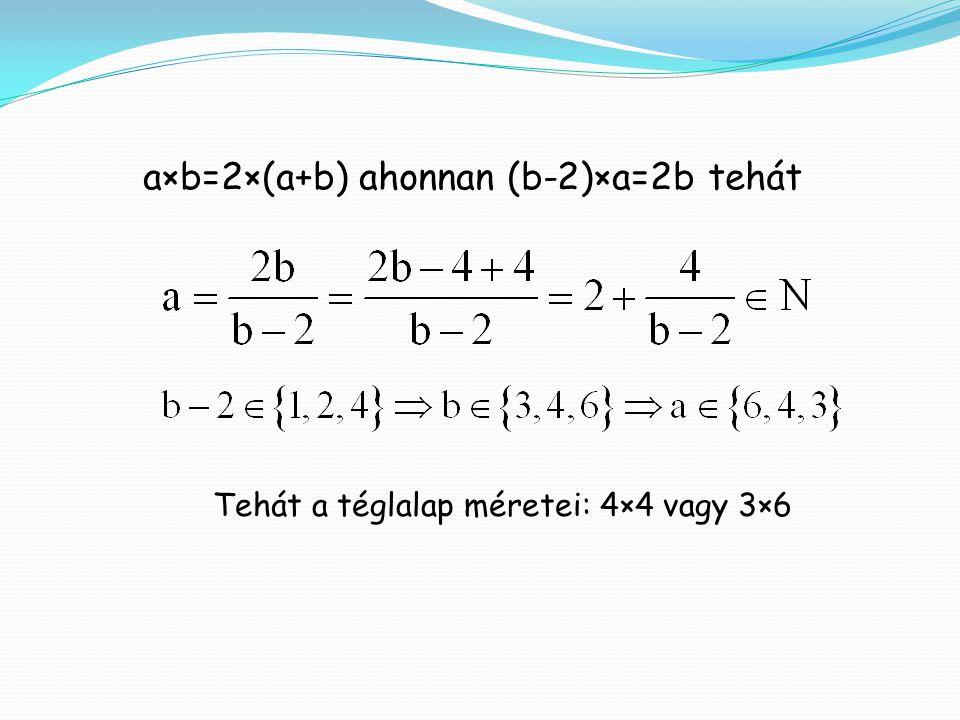 a×b=2×(a+b) ahonnan (b-2)×a=2b tehát