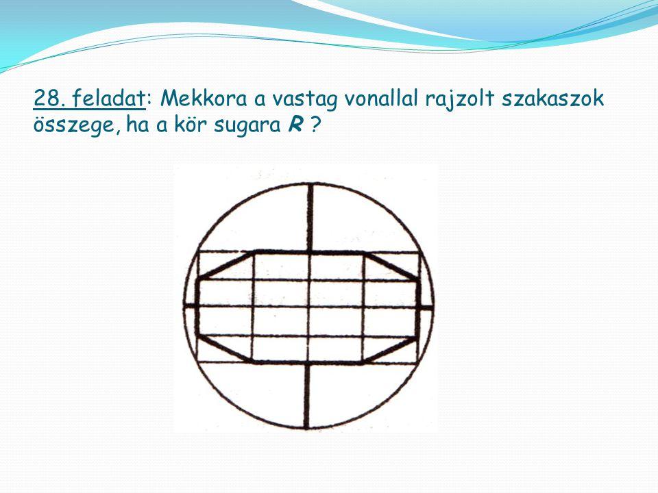 28. feladat: Mekkora a vastag vonallal rajzolt szakaszok összege, ha a kör sugara R