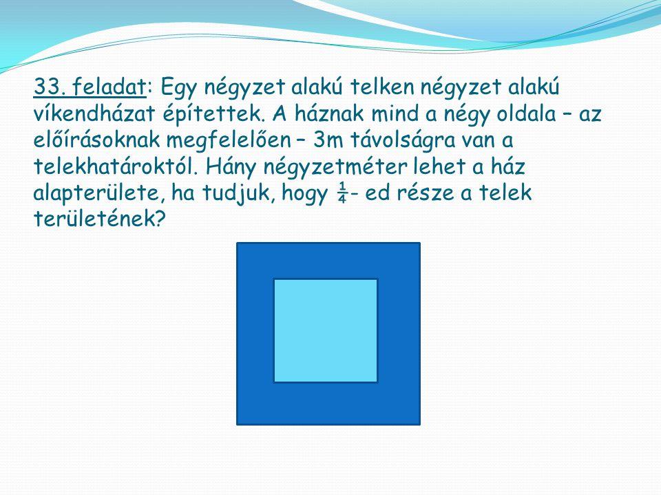 33. feladat: Egy négyzet alakú telken négyzet alakú víkendházat építettek.