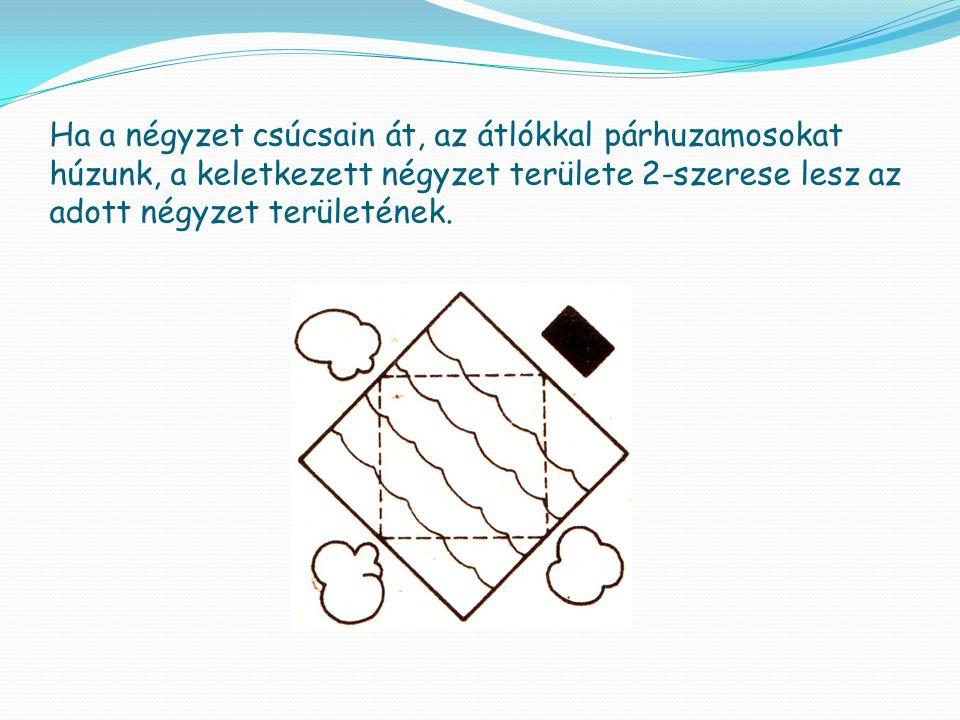 Ha a négyzet csúcsain át, az átlókkal párhuzamosokat húzunk, a keletkezett négyzet területe 2-szerese lesz az adott négyzet területének.