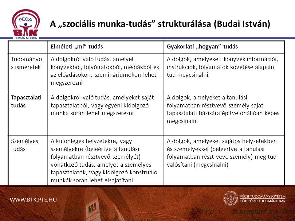 """A """"szociális munka-tudás strukturálása (Budai István)"""