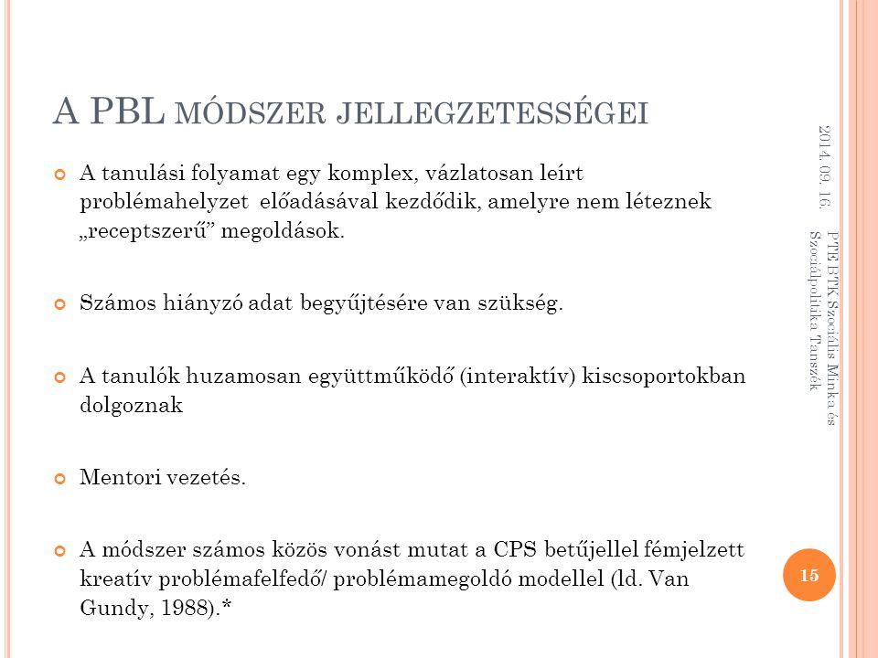 A PBL módszer jellegzetességei