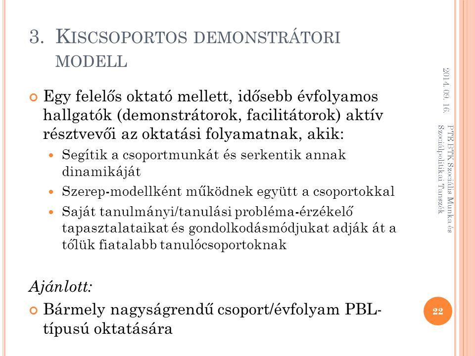 Kiscsoportos demonstrátori modell