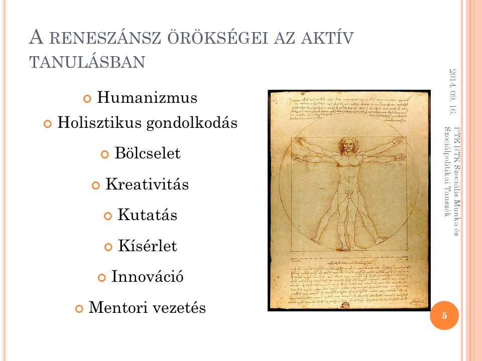 A reneszánsz örökségei az aktív tanulásban