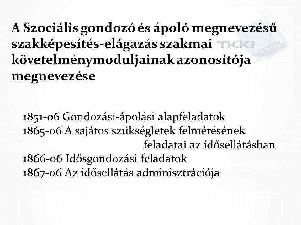 A Szociális gondozó és ápoló megnevezésű szakképesítés-elágazás szakmai követelménymoduljainak azonosítója megnevezése