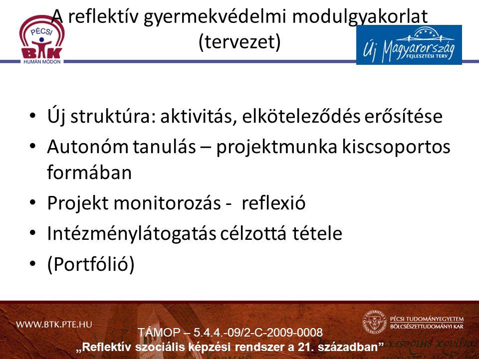 A reflektív gyermekvédelmi modulgyakorlat (tervezet)