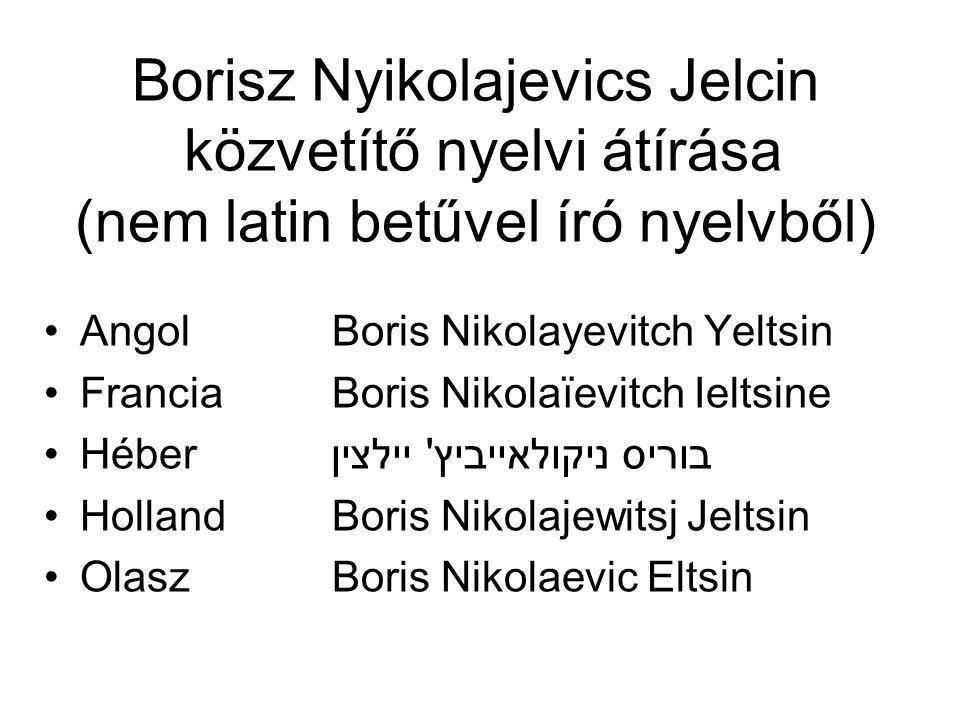 Borisz Nyikolajevics Jelcin közvetítő nyelvi átírása (nem latin betűvel író nyelvből)