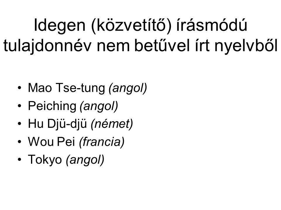 Idegen (közvetítő) írásmódú tulajdonnév nem betűvel írt nyelvből
