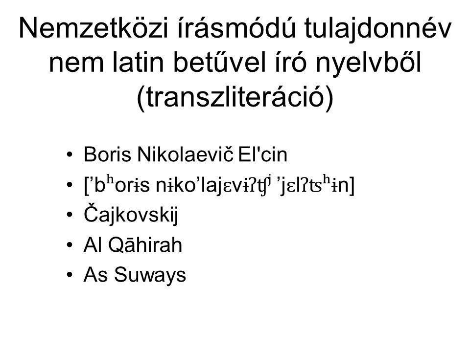 Nemzetközi írásmódú tulajdonnév nem latin betűvel író nyelvből (transzliteráció)