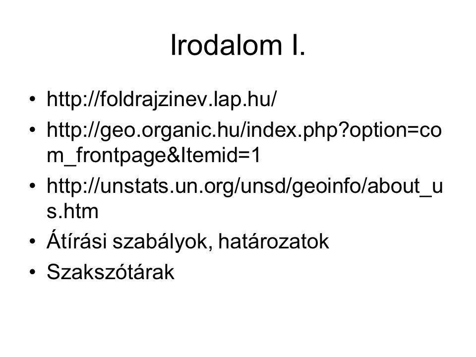 Irodalom I. • http://foldrajzinev.lap.hu/