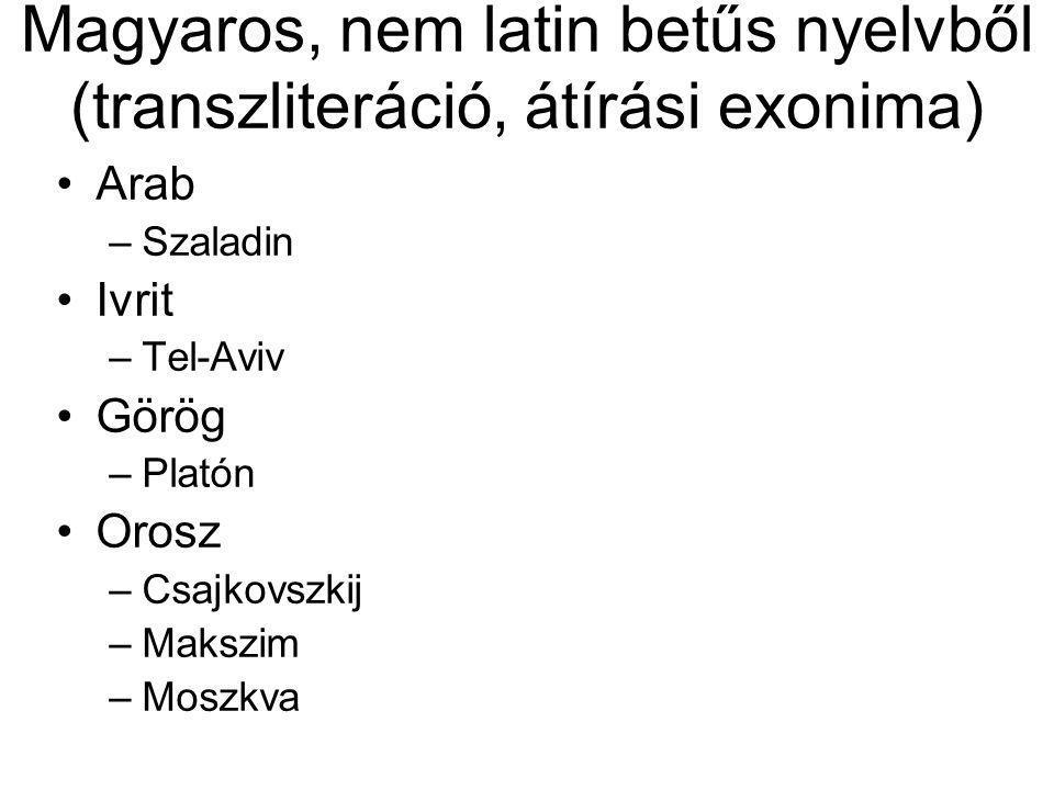 Magyaros, nem latin betűs nyelvből (transzliteráció, átírási exonima)